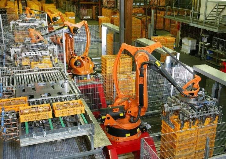 Factory automation, robots being used in production process