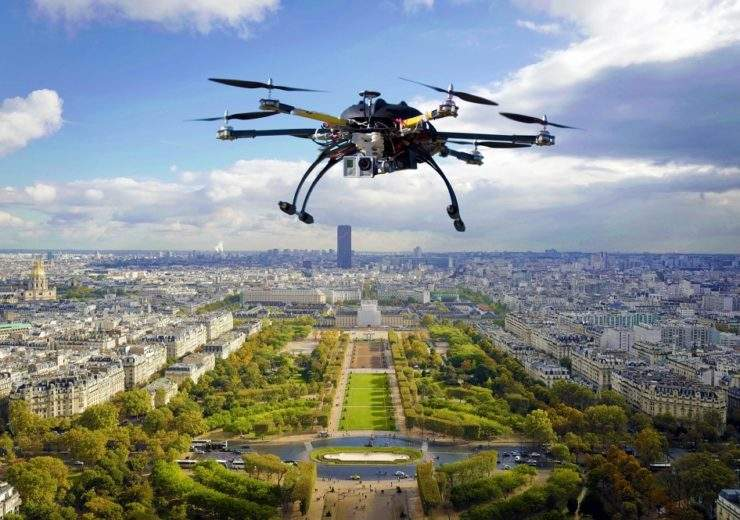 Drone over city