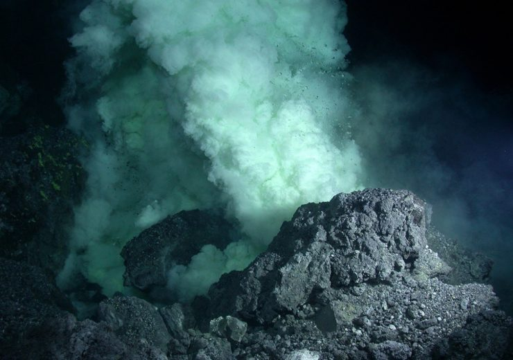 Degassing lava erupts onto the seafloor at NW Rota-1 volcano, creating a billowing cloudy plume that is extremely acidic, and is full of carbon dioxide and sulfur. (photo credit: copyright Woods Hole Oceanographic Institution)