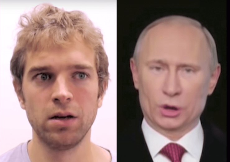 German computer scientists use deepfake technology to map their facial expressions to a video of Russian president Vladimir Putin (Credit: Youtube)