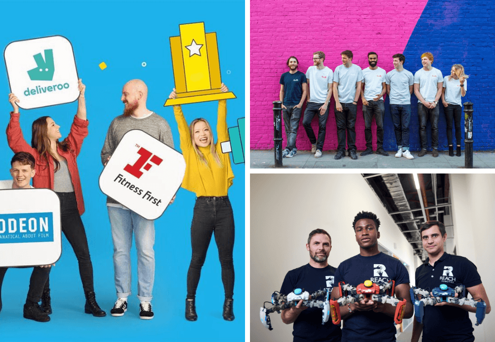 The Tech Nation Future Fifty 2019 cohort includes digital companies such as Perkbox (left), Bulb (top right) and Reach Robotics (bottom left)