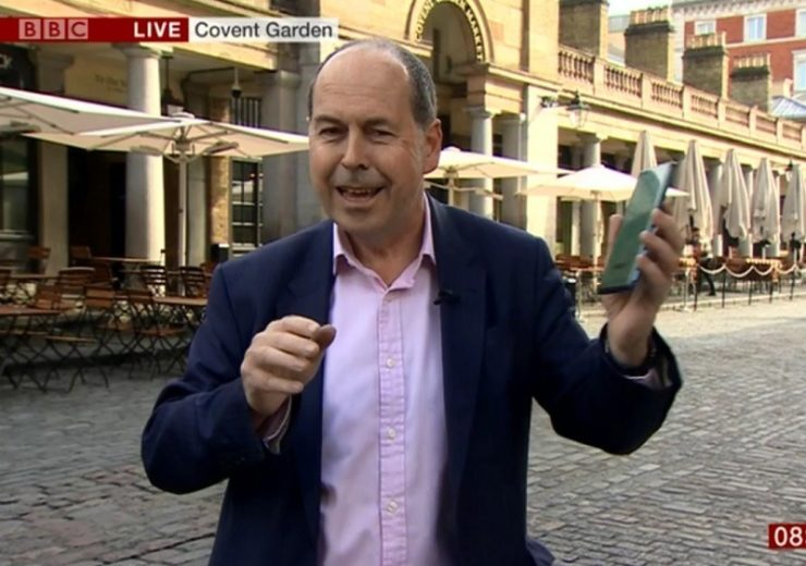 BBC presenter Rory Cellan-Jones broadcast over the new 5G network (Credit: BBC)