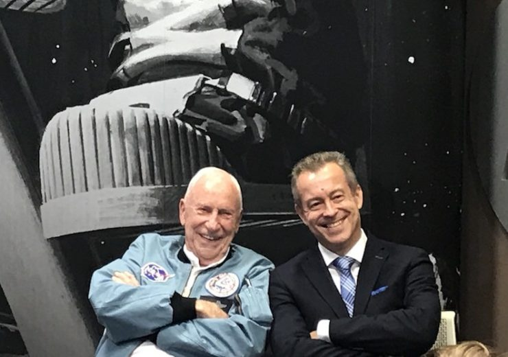 Al Worden alongside MD of Motorola Solutions Poland Jacek Drabik at the company's event celebrating the moon landings