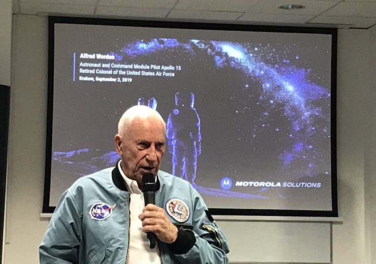 Al Worden speaking at the Motorola Solutions Innovation Centre in Krakow celebrating the 50th anniversary of the moon landings