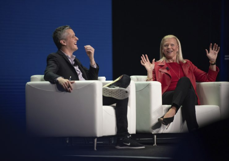 Ginni Rometty was introduced by Box CEO Aaron Levie at BoxWorks 2019 (Credit: Ashley McClusky)